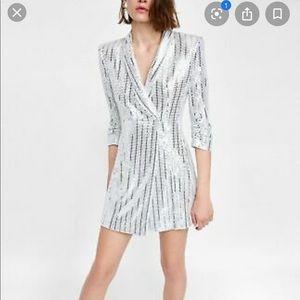 Zara silver sequined blazer minidress